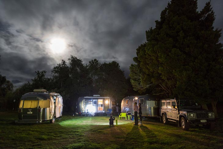 Airstream under full moon light